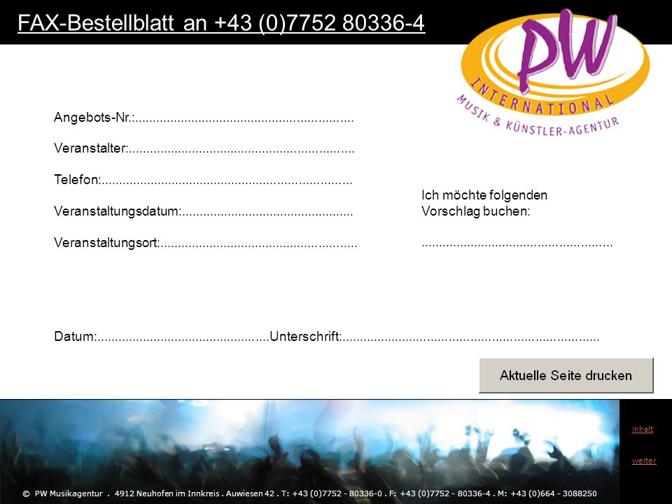 FAX-Bestellblatt an +43 (0)7752 80336-4