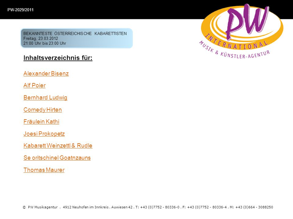 Inhaltsverzeichnis für: