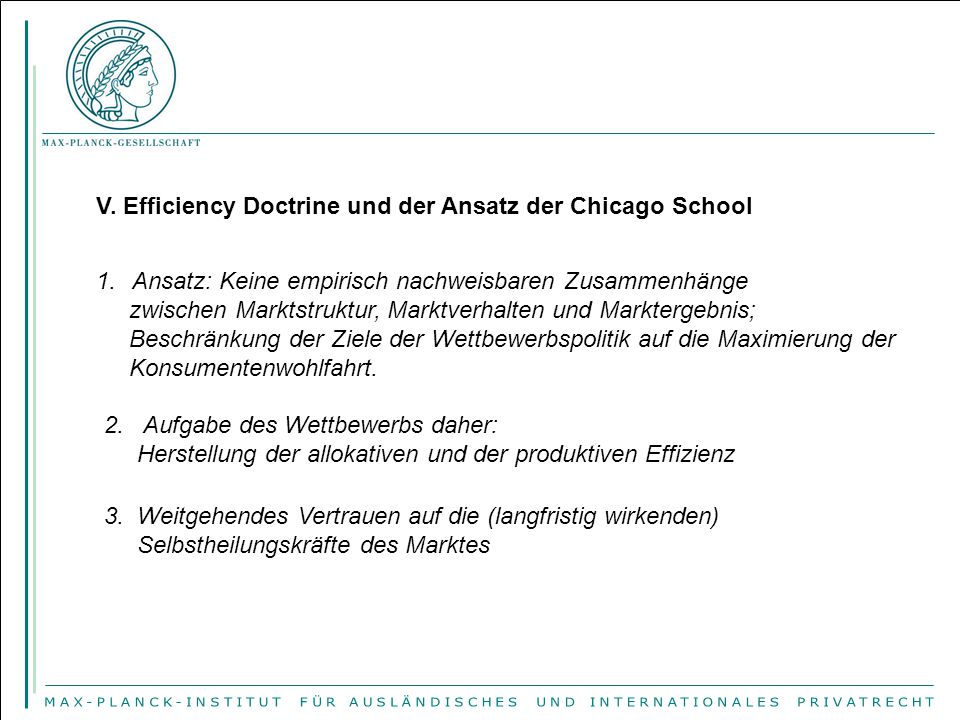 V. Efficiency Doctrine und der Ansatz der Chicago School