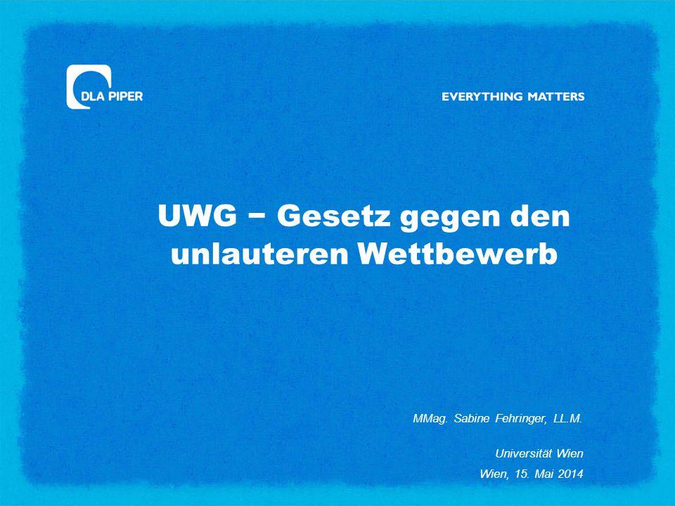 UWG − Gesetz gegen den unlauteren Wettbewerb