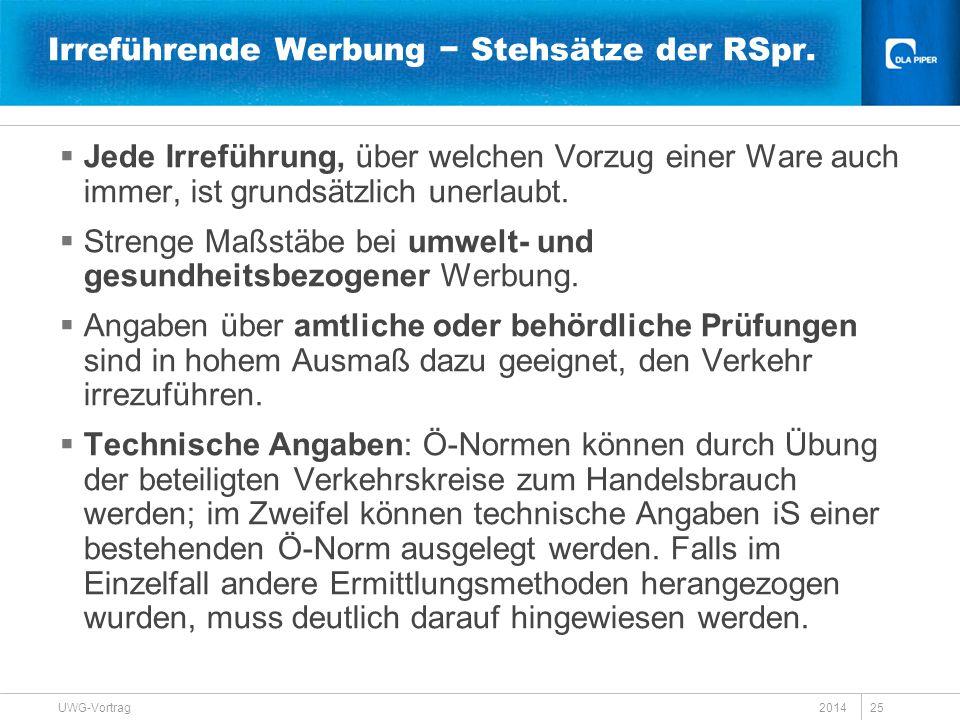 Irreführende Werbung − Stehsätze der RSpr.