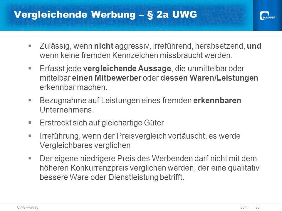 Vergleichende Werbung – § 2a UWG