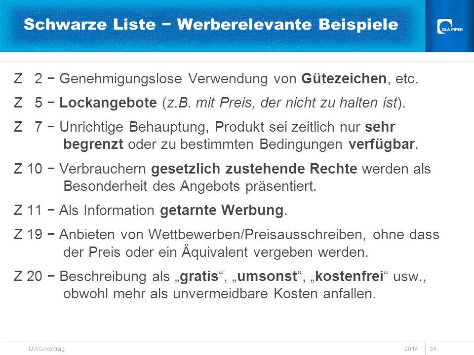 Schwarze Liste − Werberelevante Beispiele