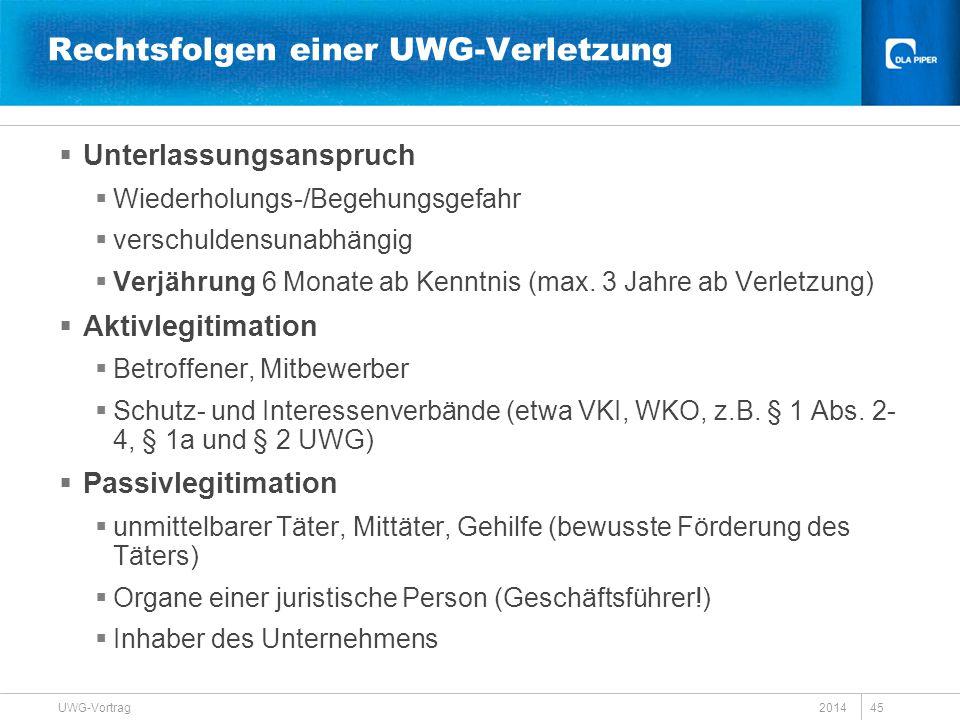 Rechtsfolgen einer UWG-Verletzung