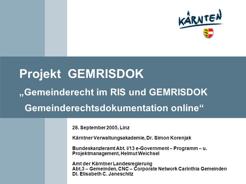 """Projekt GEMRISDOK """"Gemeinderecht im RIS und GEMRISDOK Gemeinderechtsdokumentation online"""