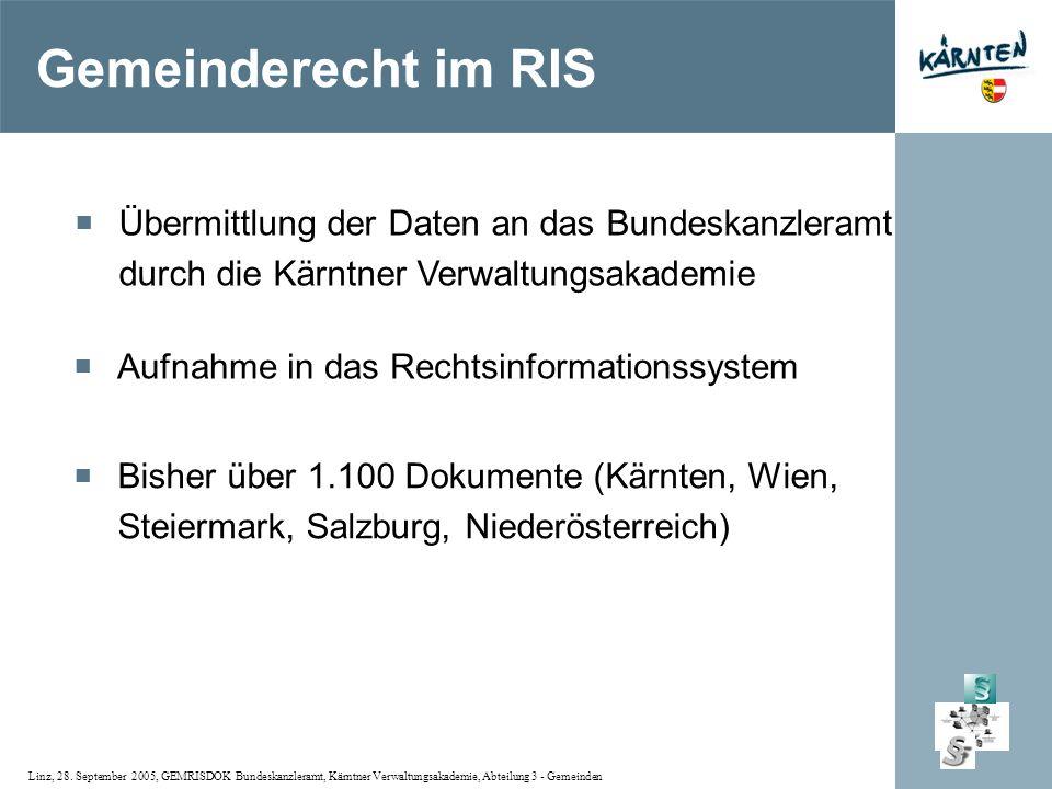 Gemeinderecht im RIS Übermittlung der Daten an das Bundeskanzleramt durch die Kärntner Verwaltungsakademie.
