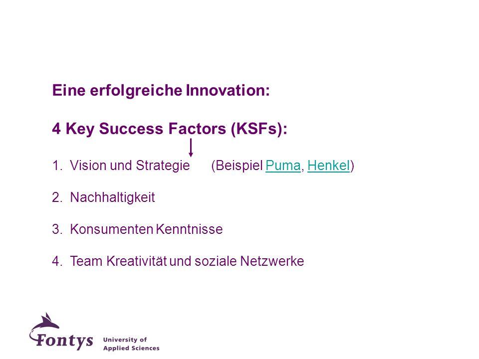 Eine erfolgreiche Innovation: 4 Key Success Factors (KSFs):