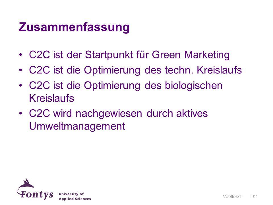Zusammenfassung C2C ist der Startpunkt für Green Marketing