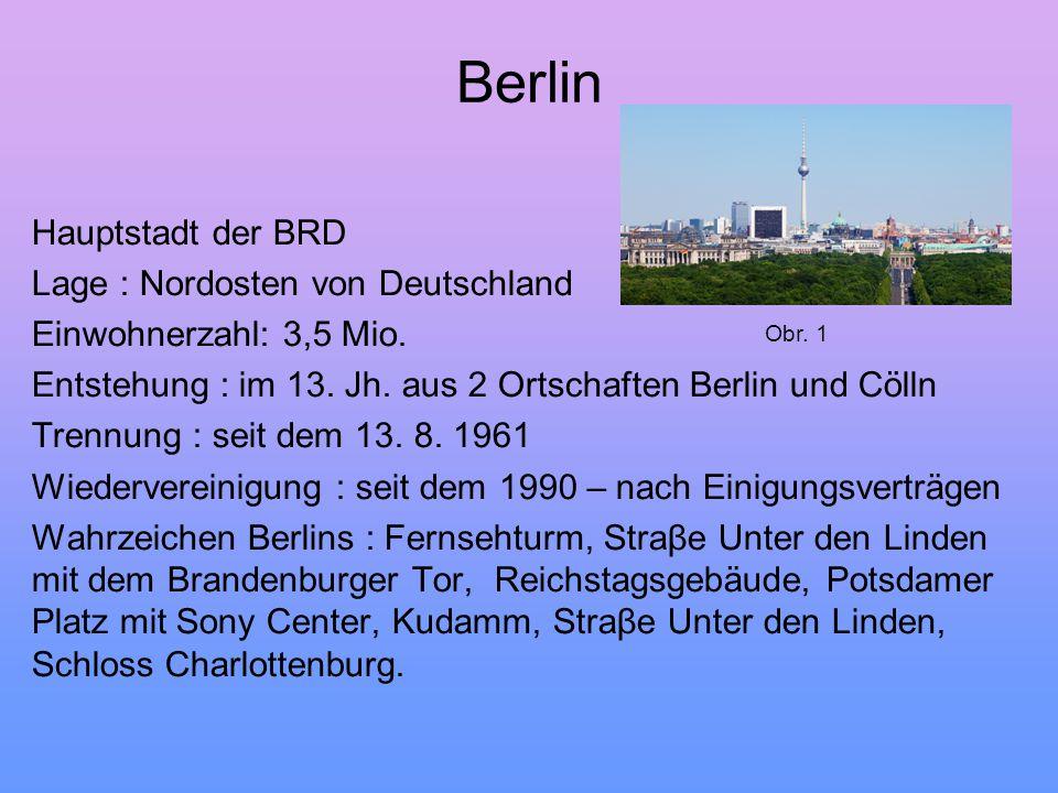 Berlin Hauptstadt der BRD Lage : Nordosten von Deutschland