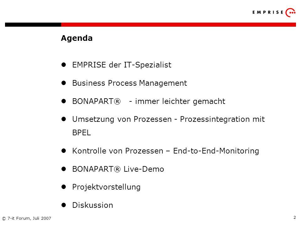 Agenda EMPRISE der IT-Spezialist. Business Process Management. BONAPART® - immer leichter gemacht.