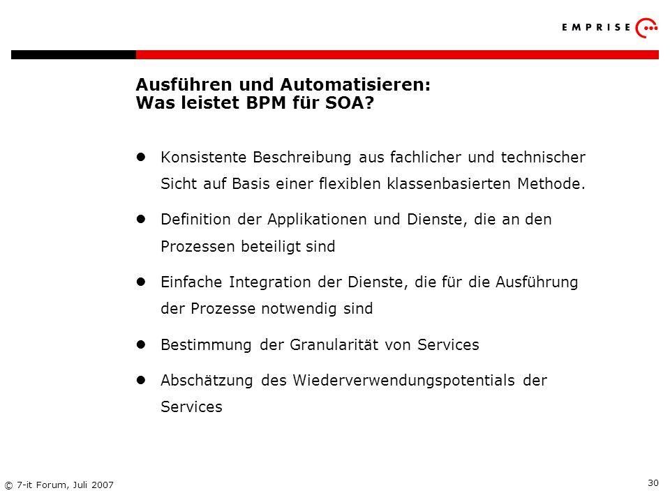 Ausführen und Automatisieren: Was leistet BPM für SOA