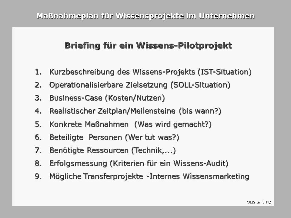 Briefing für ein Wissens-Pilotprojekt