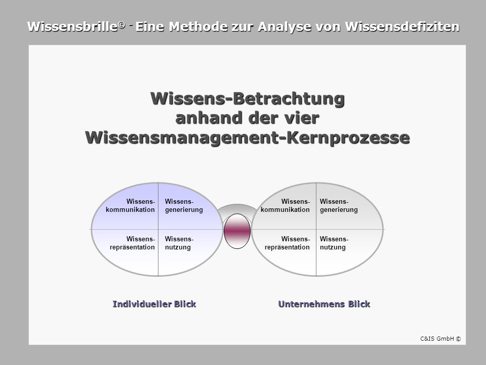 Wissens-Betrachtung anhand der vier Wissensmanagement-Kernprozesse