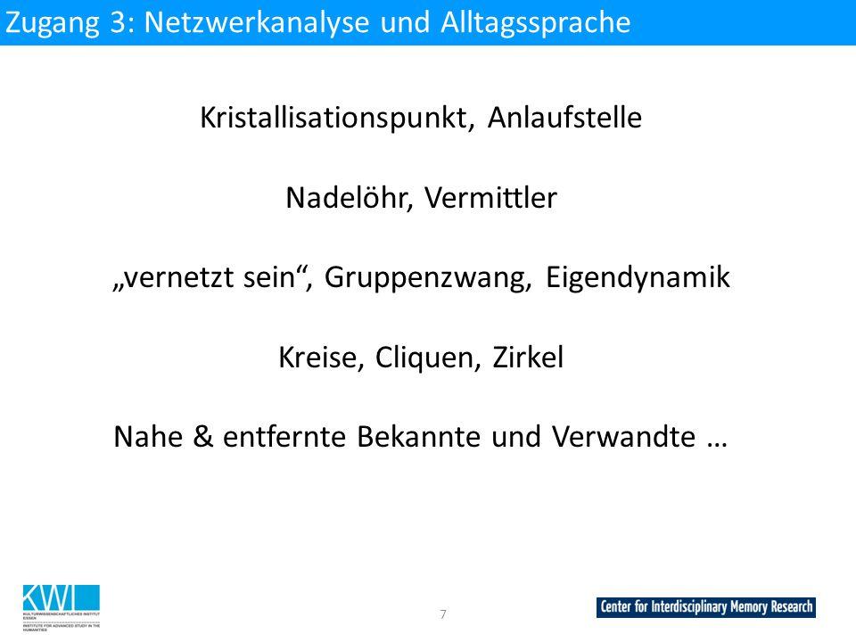 Zugang 3: Netzwerkanalyse und Alltagssprache
