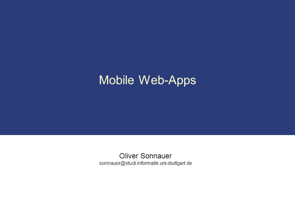 Mobile Web-Apps