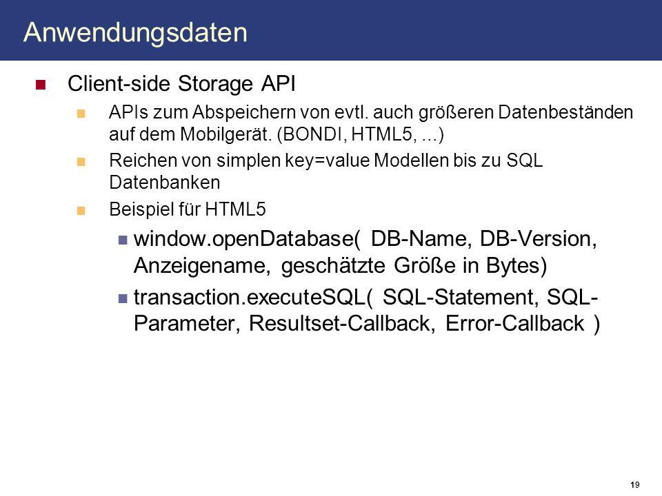 Anwendungsdaten Client-side Storage API