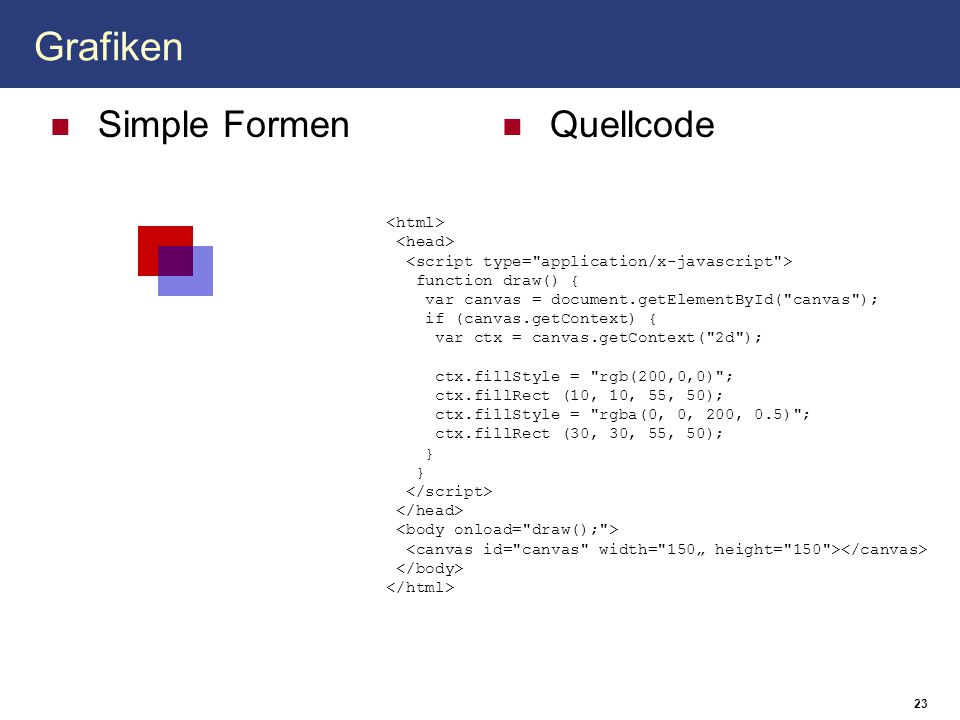 Grafiken Simple Formen Quellcode <html> <head>