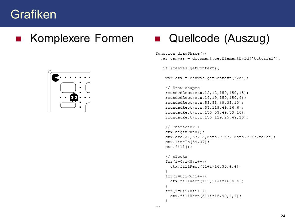 Grafiken Komplexere Formen Quellcode (Auszug) function drawShape(){