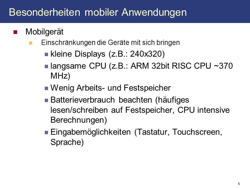 Besonderheiten mobiler Anwendungen