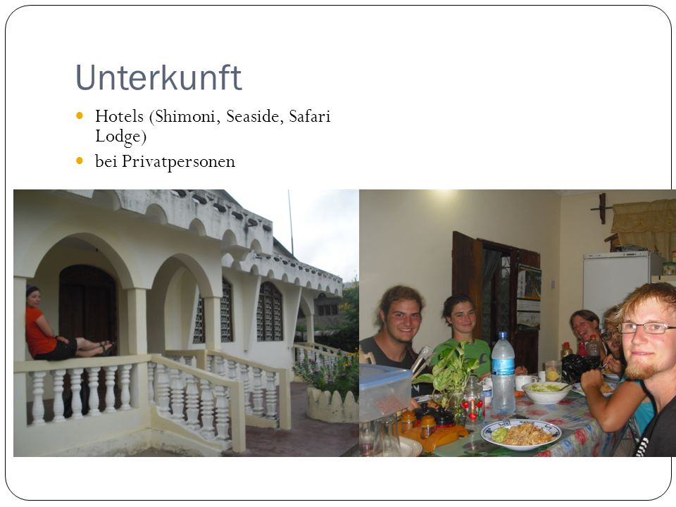 Unterkunft Hotels (Shimoni, Seaside, Safari Lodge) bei Privatpersonen