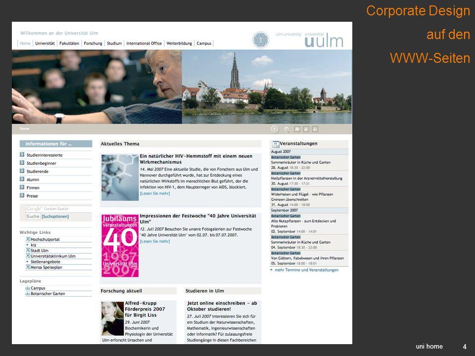 Corporate Design auf den WWW-Seiten uni home