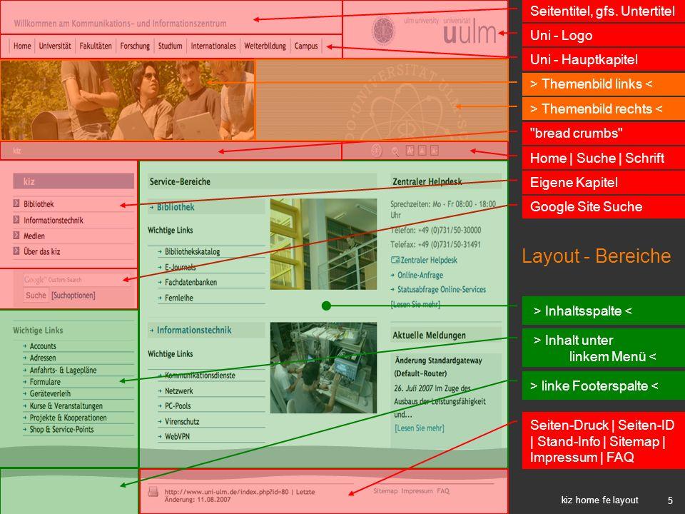 Layout - Bereiche Seitentitel, gfs. Untertitel Uni - Logo