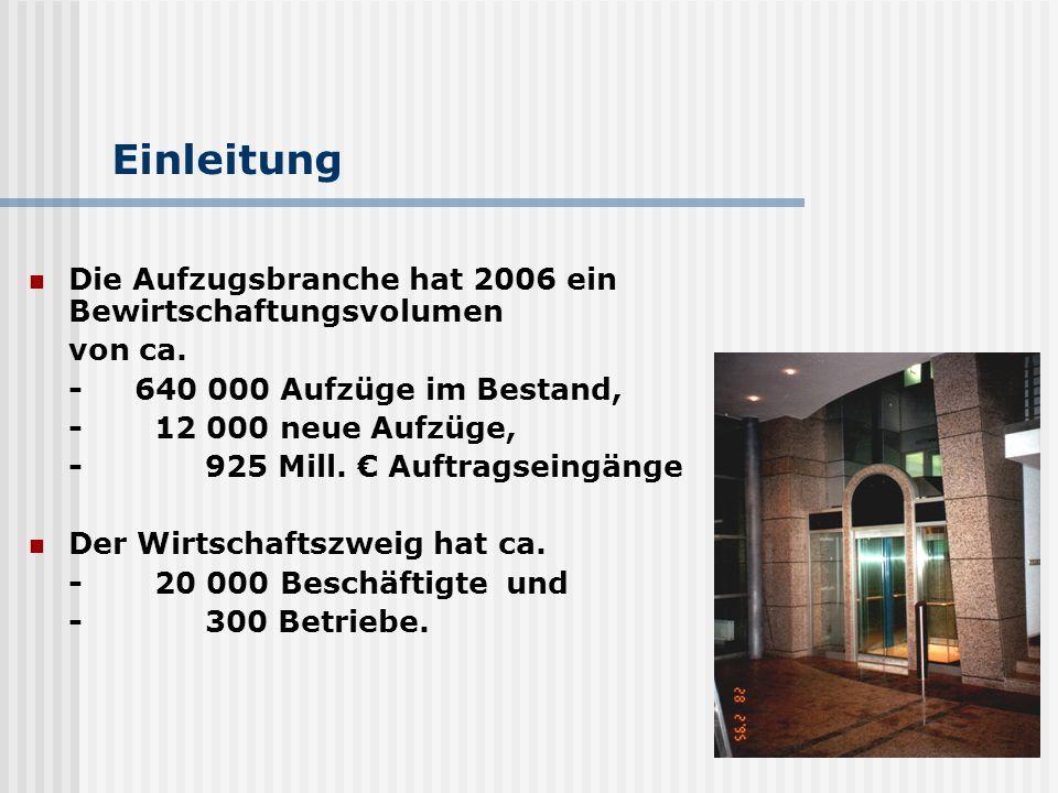 Einleitung Die Aufzugsbranche hat 2006 ein Bewirtschaftungsvolumen