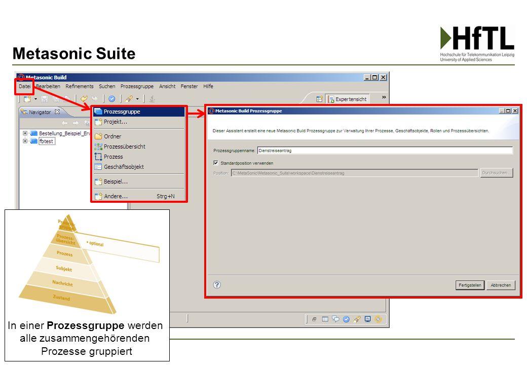Metasonic Suite In einer Prozessgruppe werden alle zusammengehörenden Prozesse gruppiert
