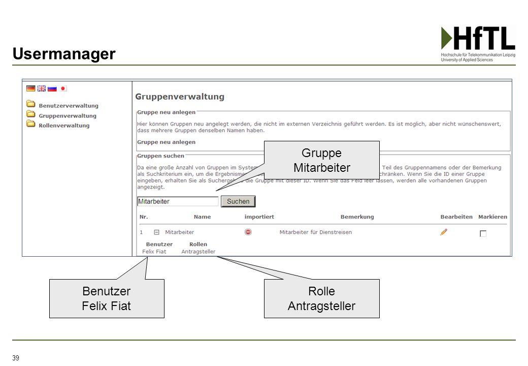 Usermanager Gruppe Mitarbeiter Benutzer Felix Fiat Rolle Antragsteller