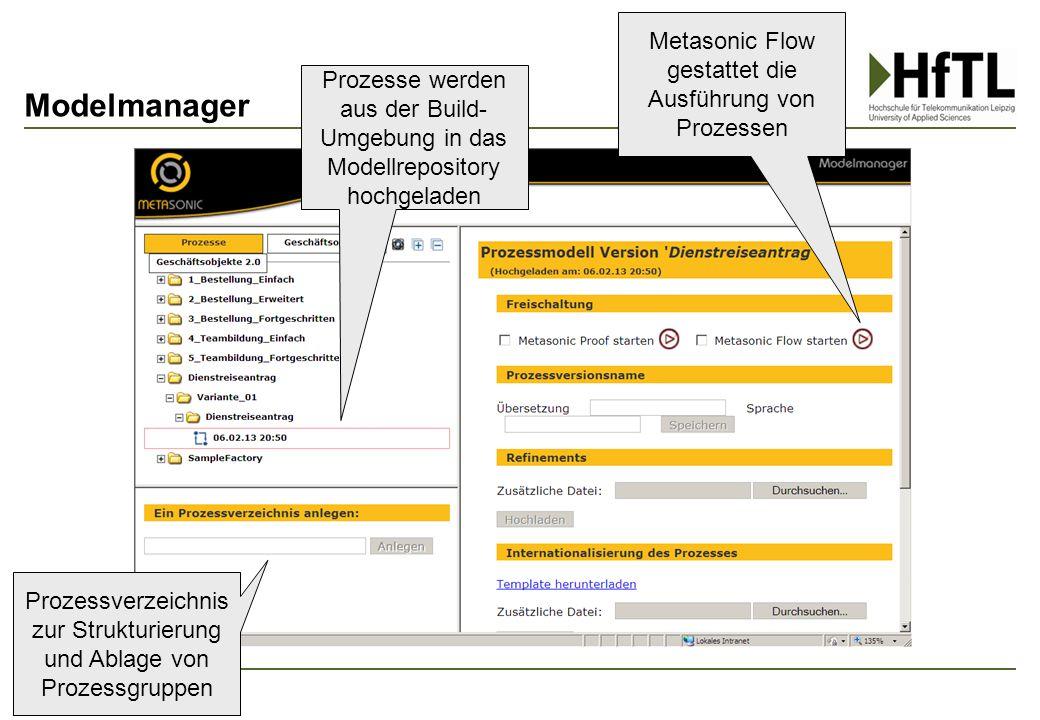 Modelmanager Metasonic Flow gestattet die Ausführung von Prozessen