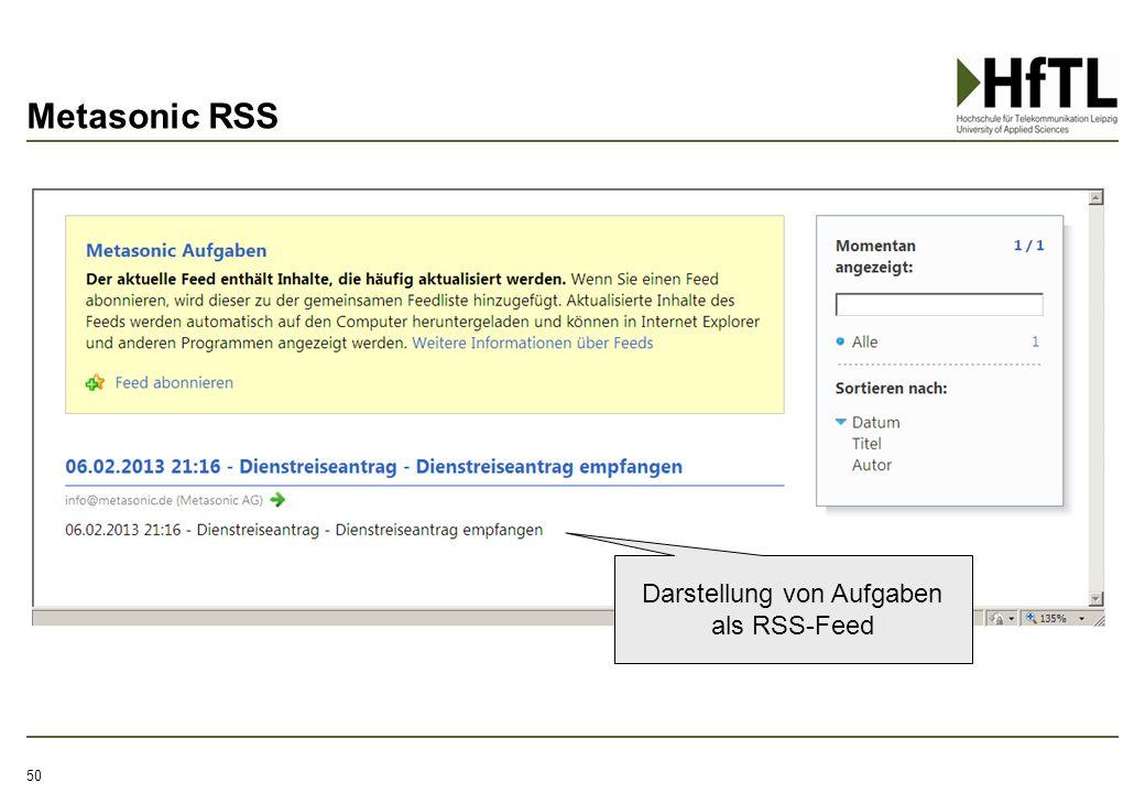 Darstellung von Aufgaben als RSS-Feed