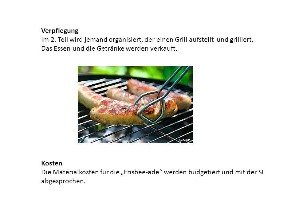Verpflegung Im 2. Teil wird jemand organisiert, der einen Grill aufstellt und grilliert. Das Essen und die Getränke werden verkauft.
