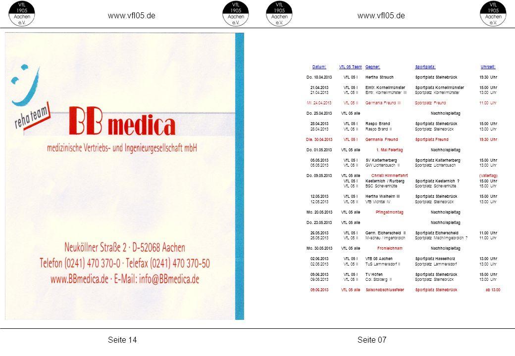 www.vfl05.de www.vfl05.de Seite 14 Seite 07 Datum: VfL 05 Team Gegner: