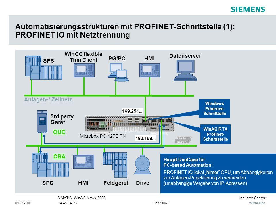 Automatisierungsstrukturen mit PROFINET-Schnittstelle (1): PROFINET IO mit Netztrennung