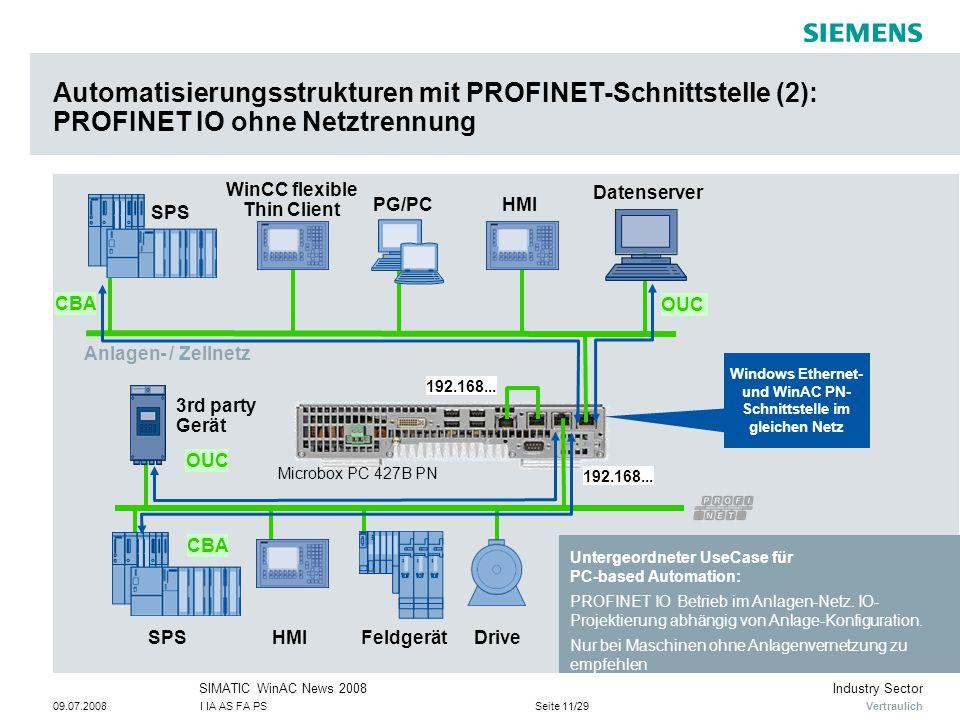 Automatisierungsstrukturen mit PROFINET-Schnittstelle (2): PROFINET IO ohne Netztrennung