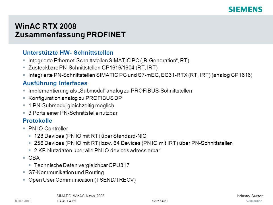 WinAC RTX 2008 Zusammenfassung PROFINET