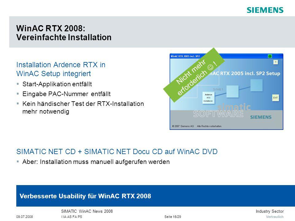 WinAC RTX 2008: Vereinfachte Installation