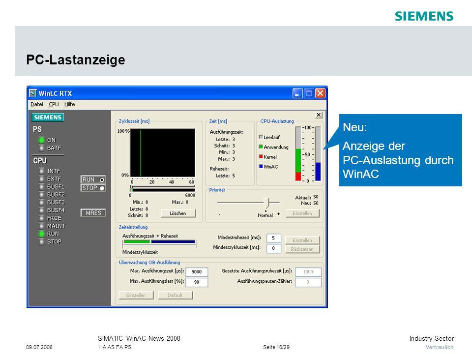 PC-Lastanzeige Neu: Anzeige der PC-Auslastung durch WinAC