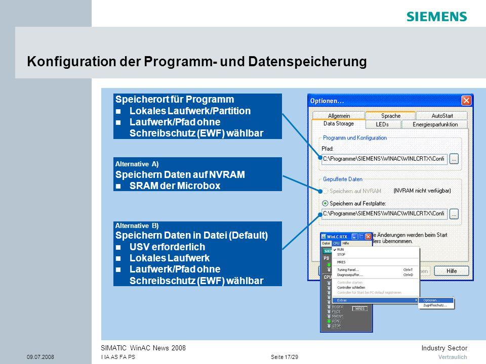 Konfiguration der Programm- und Datenspeicherung