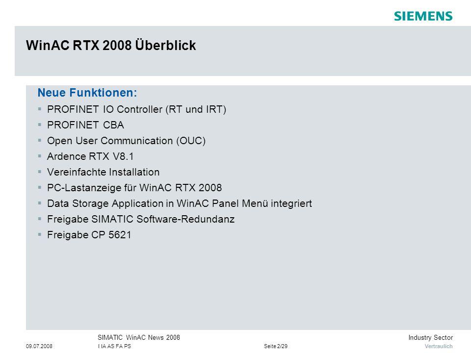 WinAC RTX 2008 Überblick Neue Funktionen: