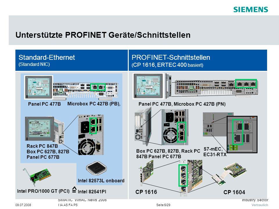 Unterstützte PROFINET Geräte/Schnittstellen