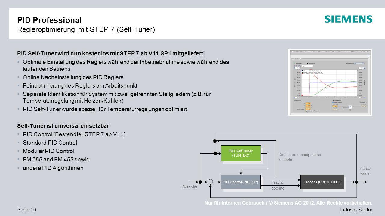 PID Professional Regleroptimierung mit STEP 7 (Self-Tuner)