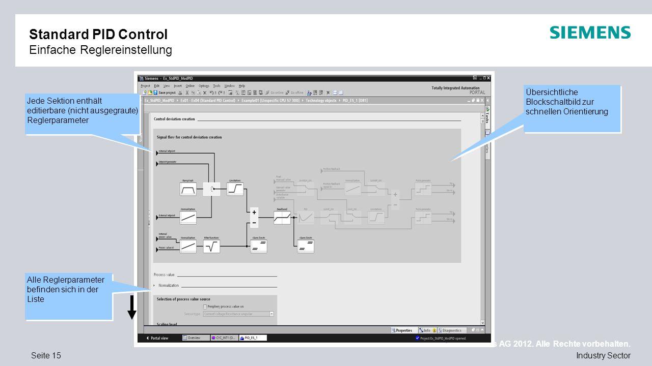 Standard PID Control Einfache Reglereinstellung