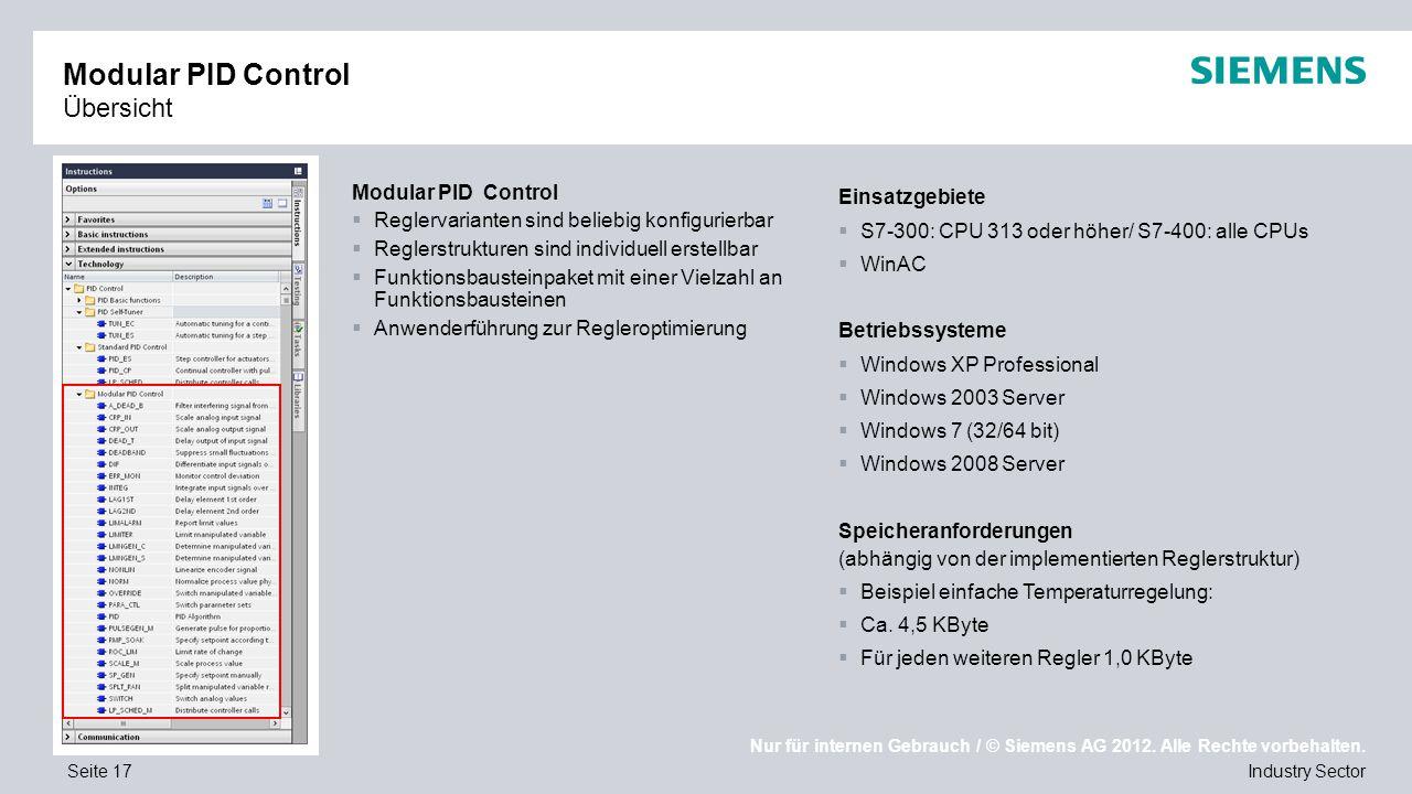 Modular PID Control Übersicht