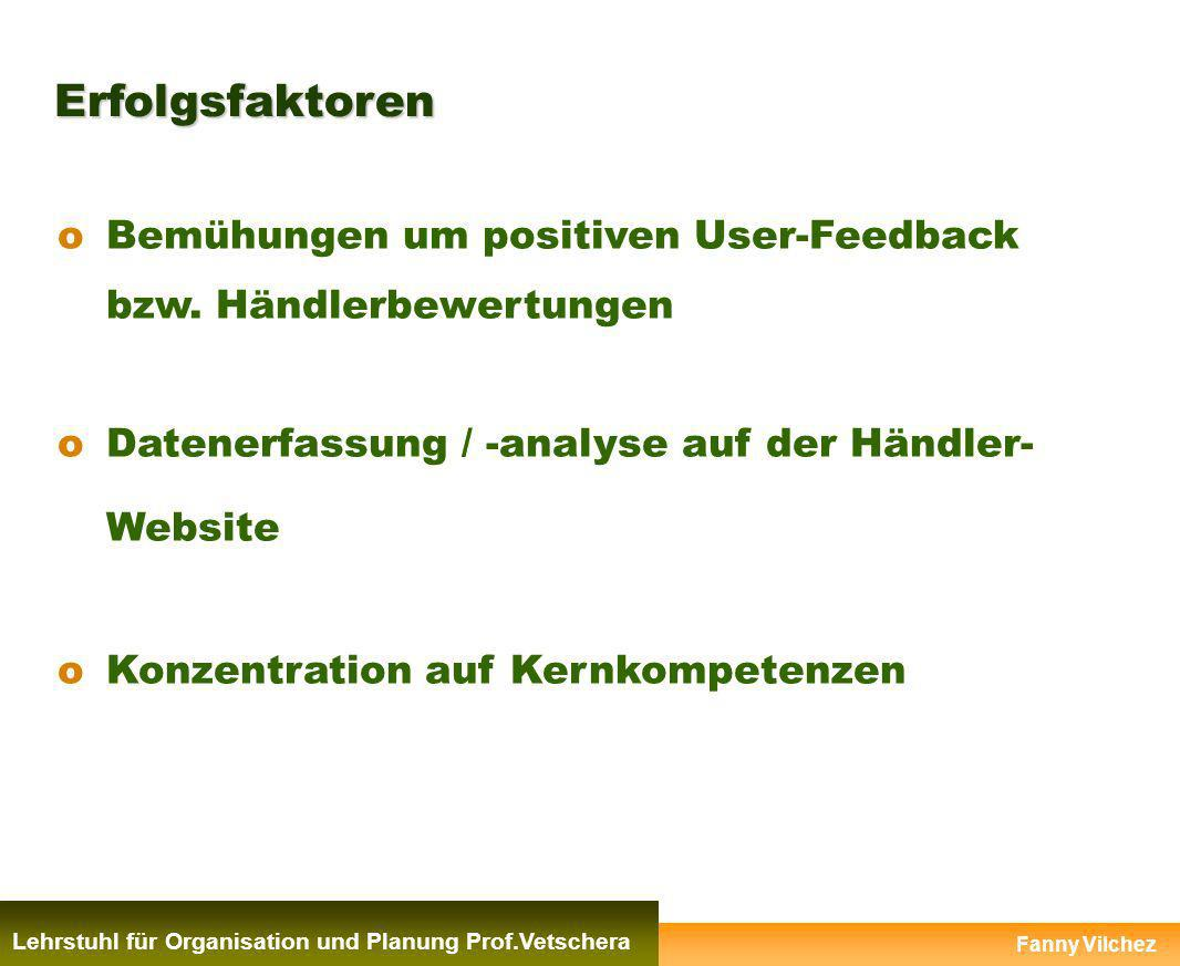 Erfolgsfaktoren Bemühungen um positiven User-Feedback bzw. Händlerbewertungen. Datenerfassung / -analyse auf der Händler- Website.
