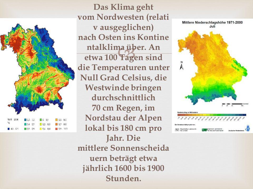 Das Klima geht vom Nordwesten (relativ ausgeglichen) nach Osten ins Kontinentalklima über.