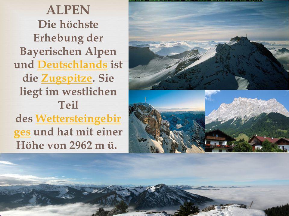 ALPEN Die höchste Erhebung der Bayerischen Alpen und Deutschlands ist die Zugspitze.