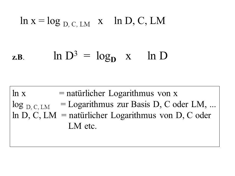 ln D3 = logD x ln D ln x = log D, C, LM x ln D, C, LM