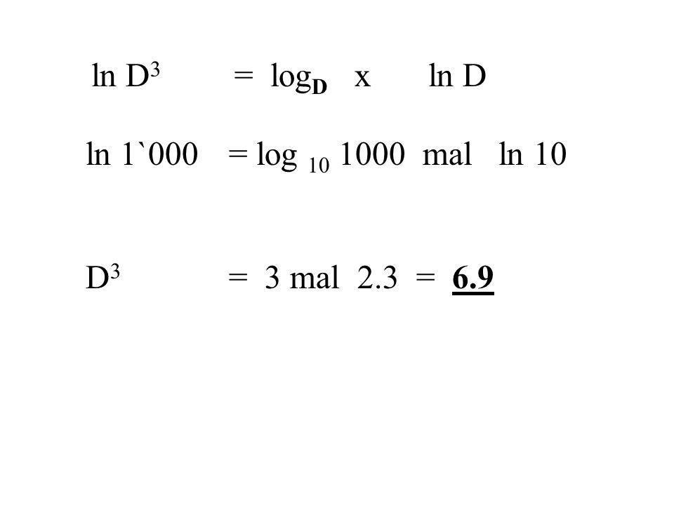 ln D3 = logD x ln D ln 1`000 = log 10 1000 mal ln 10 D3 = 3 mal 2.3 = 6.9