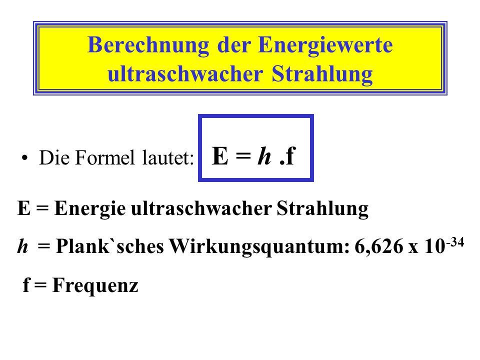 Berechnung der Energiewerte ultraschwacher Strahlung